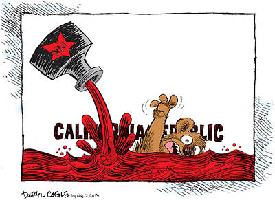 Drawing - California Budget Red Ink by Daryl Cagle