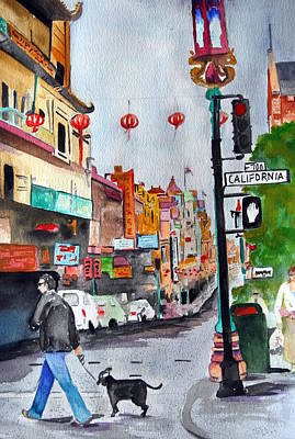 City Scape Painting - California Chinatown  by Julie Lueders