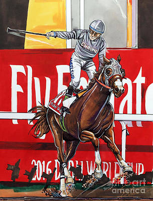 Victor Drawing - California Chrome Wins The 2016 Dubai World Cup by Dave Olsen