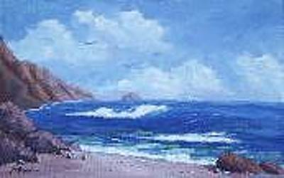 Surf The Rincon Painting - California Coast by Bob Phillips