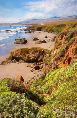 Painting - California Coast -  Cliffs Beaches And Wildflowers Ap by Dan Carmichael