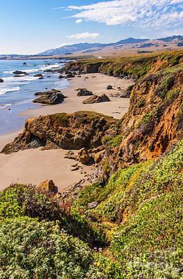 Photograph - California Coast -  Cliffs Beaches And Wildflowers by Dan Carmichael