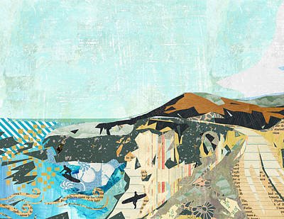 California Coast Collage Art Print by Claudia Schoen