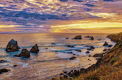 Photograph - California Coast Golden Sunset by Dan Carmichael