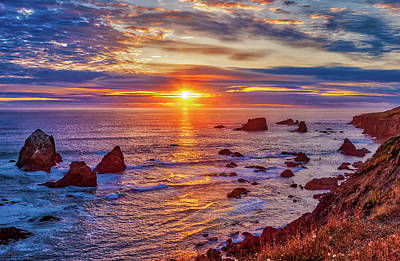 Photograph - California Coast Peek-a-boo Sunset by Dan Carmichael