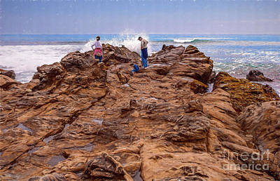 Painting - California Coast -  People Rocks And Ocean Ap by Dan Carmichael
