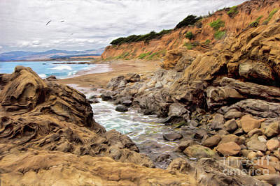 Painting - California Coast Rocks Cliffs And Beach Ap by Dan Carmichael