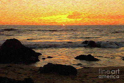 Digital Art - California Coast Sunset by Diane Diederich