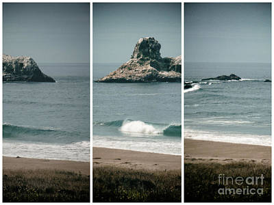 Photograph - California Coast Triptych by Methune Hively