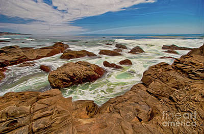 Painting - California Coast Waves On Rocks Ap by Dan Carmichael