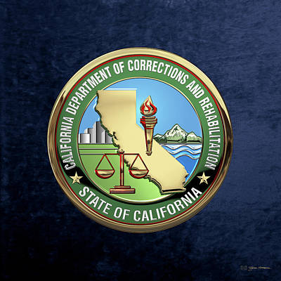 Digital Art - California Department Of Corrections And Rehabilitation - C D C R  Logo Over Blue Velvet by Serge Averbukh