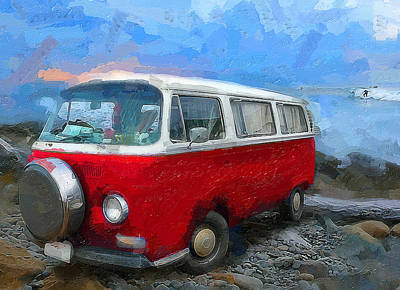 Ocean Side Digital Art - California Dreamin Red by Ron Regalado