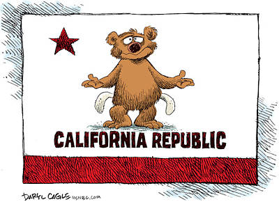 Drawing - 	California Empty Pockets by Daryl Cagle