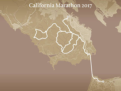 San Francisco Marathon Digital Art - California Endurance Marathon #1 by Big City Artwork