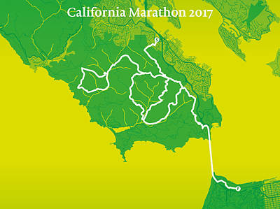San Francisco Marathon Digital Art - California Endurance Marathon #2 by Big City Artwork