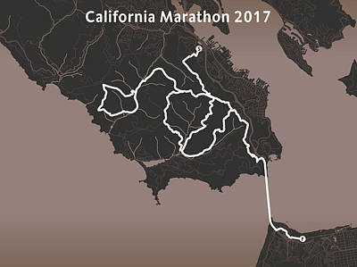 San Francisco Marathon Digital Art - California Endurance Marathon Black by Big City Artwork