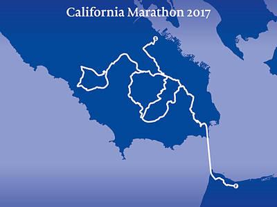 San Francisco Marathon Digital Art - California Endurance Marathon Line by Big City Artwork