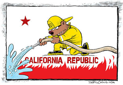 Drawing - California Firefighter Flag by Daryl Cagle