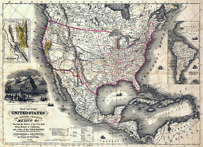 California Gold Rush Map Of The United States 1849 Art Print by Daniel Hagerman