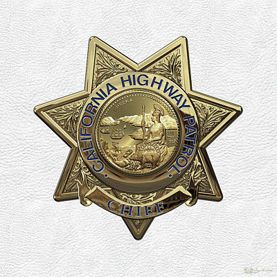 California Highway Patrol  -  C H P  Chief Badge Over White Leather Art Print by Serge Averbukh