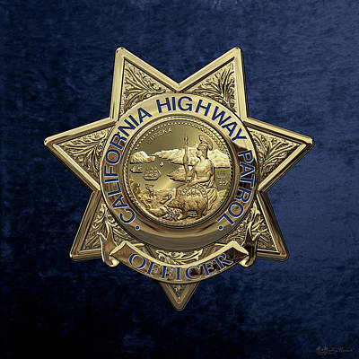 Law Enforcement Digital Art - California Highway Patrol  -  C H P  Police Officer Badge Over Blue Velvet by Serge Averbukh