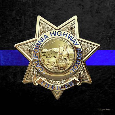 Digital Art - California Highway Patrol - Chp Officer Badge - The Thin Blue Line Edition Over Black Velvet by Serge Averbukh