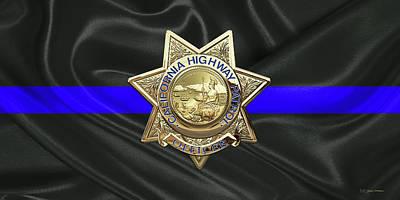 Digital Art - California Highway Patrol - Chp Officer Badge - The Thin Blue Line Edition by Serge Averbukh