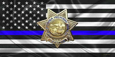 Digital Art - California Highway Patrol - Chp Officer Badge - The Thin Blue Line Flag Edition by Serge Averbukh