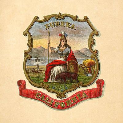 1876 Digital Art - California Historical Coat Of Arms Circa 1876 by Serge Averbukh