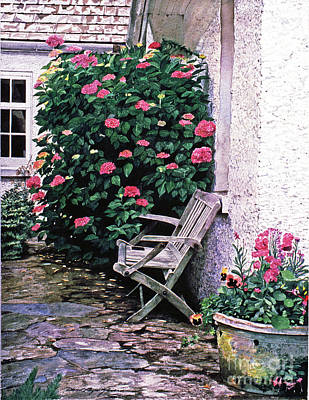 Stone Cottage Painting - California Hydrangea Cottage by David Lloyd Glover