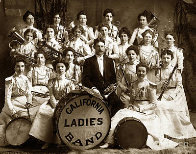 Olympic Sports - California Ladies Band Circa 1899 by California Views Archives Mr Pat Hathaway Archives