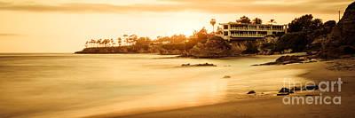 Southern California Sunset Beach Photograph - California Laguna Beach Sunset Panorama Photo by Paul Velgos