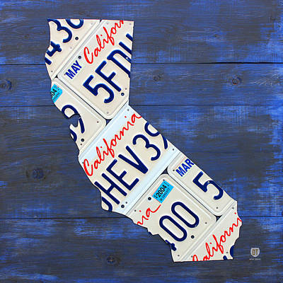 California License Plate Map On Blue Art Print
