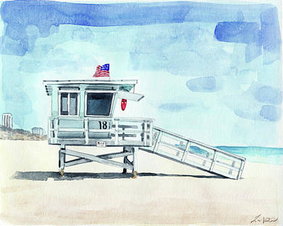 California Lifeguard Tower Print 2 Beach House Art California Beach Print Beach Painting Coastal Art Print