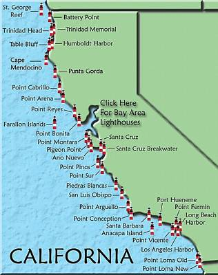 Photograph - California Lighthouse Map by Christine Till