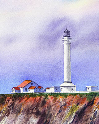 Painting - California Lighthouse Point Arena by Irina Sztukowski