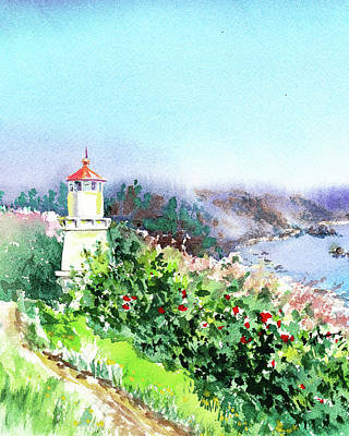 Painting - California Lighthouse Trinidad Pacific Ocean by Irina Sztukowski