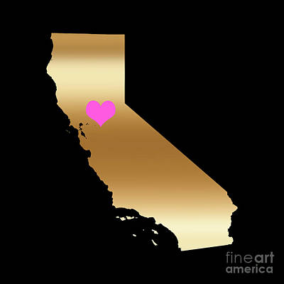 Digital Art - California Love On Black Background by Leah McPhail