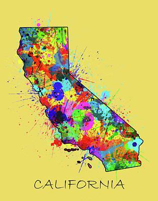 Santa Monica Digital Art - California Map Color Splatter 2 by Bekim Art