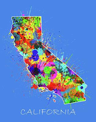 Santa Monica Digital Art - California Map Color Splatter 3 by Bekim Art