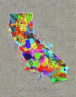 Splatter Digital Art - California Map Color Splatter 4 by Bekim Art