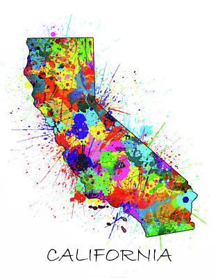 Santa Monica Digital Art - California Map Color Splatter by Bekim Art