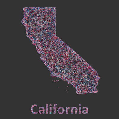 Abstract Map Drawing - California Map by David Zydd