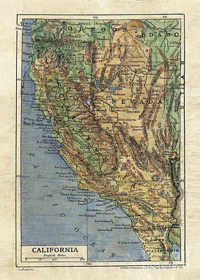 Painting - California Map by Lisa Middleton