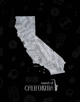 Jazz Royalty-Free and Rights-Managed Images - California  Map Music Notes 2 by Bekim Art