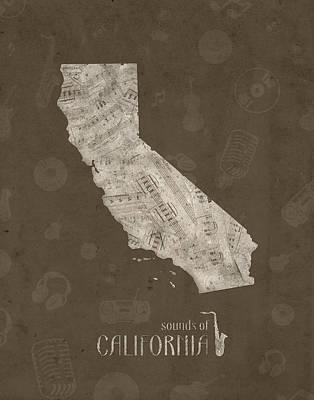 Santa Monica Digital Art - California Map Music Notes 3 by Bekim Art