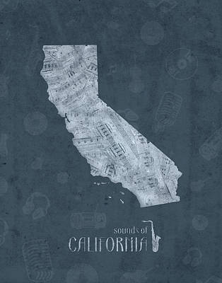 Music Royalty-Free and Rights-Managed Images - California Map Music Notes 4 by Bekim M