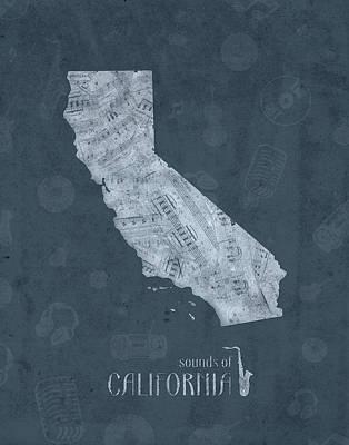 Santa Monica Digital Art - California Map Music Notes 4 by Bekim Art