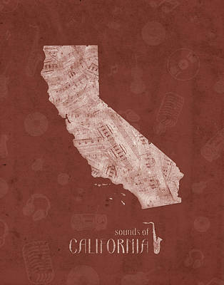 Rock And Roll Royalty-Free and Rights-Managed Images - California Map Music Notes 5 by Bekim Art