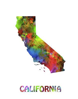Pop Art Royalty-Free and Rights-Managed Images - California  Map Watercolor by Bekim Art